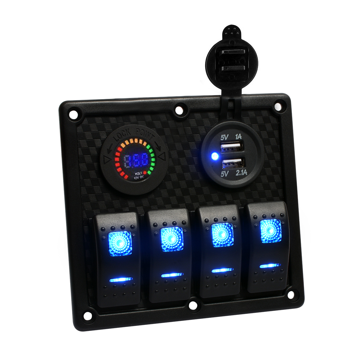 Teqstone Marine Boat Rocker Switch Panel 4 Gang With Double Grade Wiring Diagrams Panels